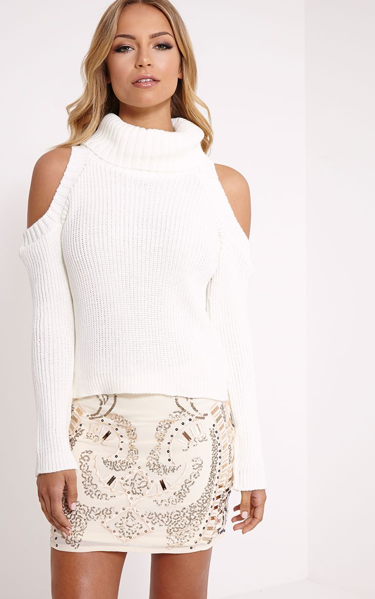 Piper Cream Cut Out Shoulder Jumper 1