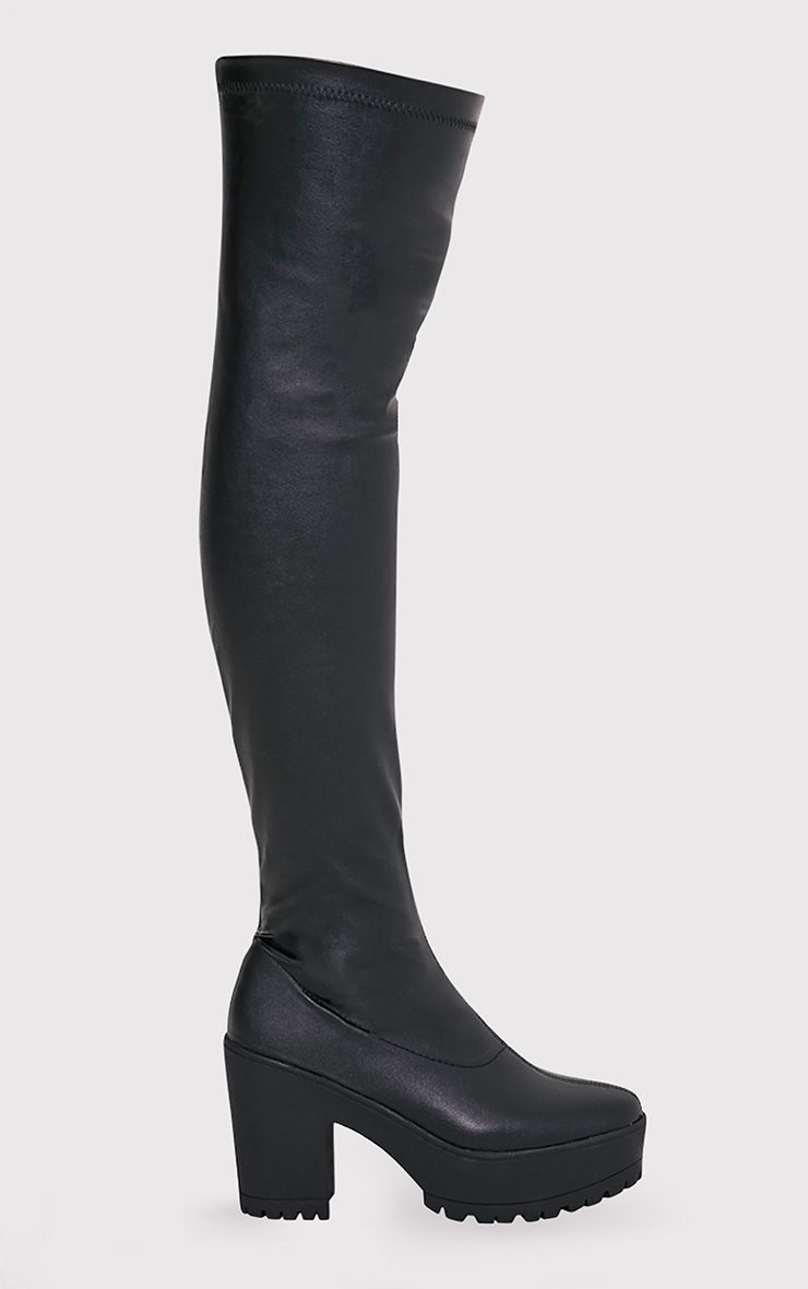 Teresa Black Faux Leather Platform Over the Knee Boots