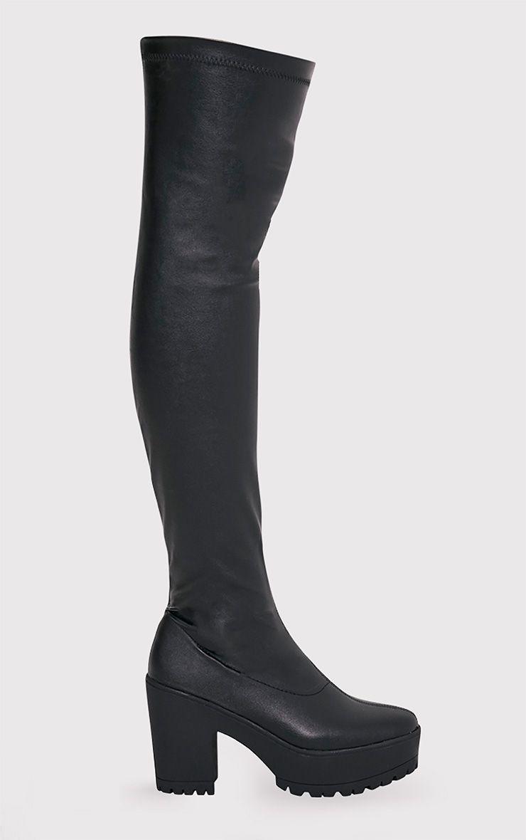 Teresa Black Faux Leather Platform Over the Knee Boots 1