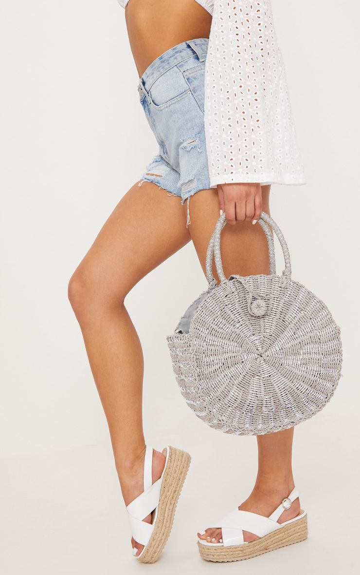 Silver Straw Round Cross body Bag