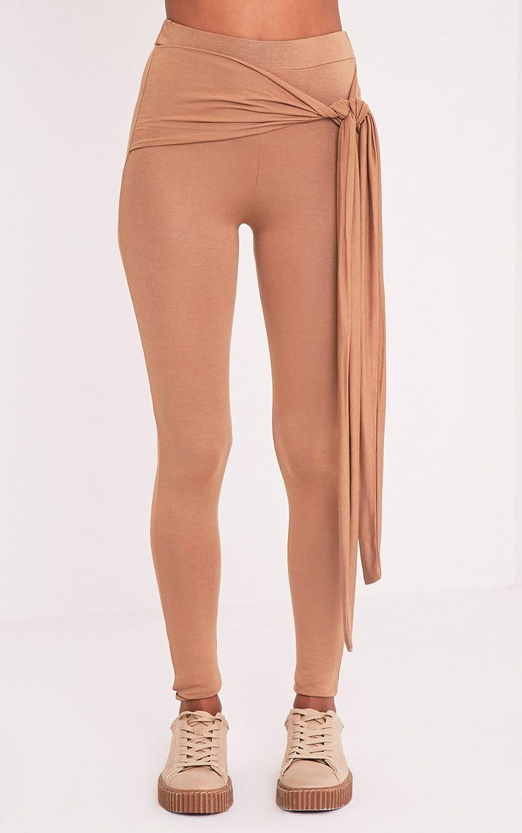 Basic Camel Tie Front Leggings 2