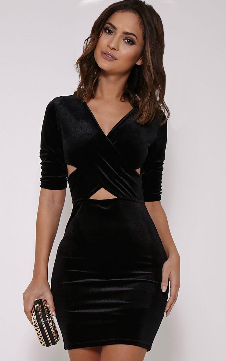 Marti Black Velvet Cross Front Dress 1