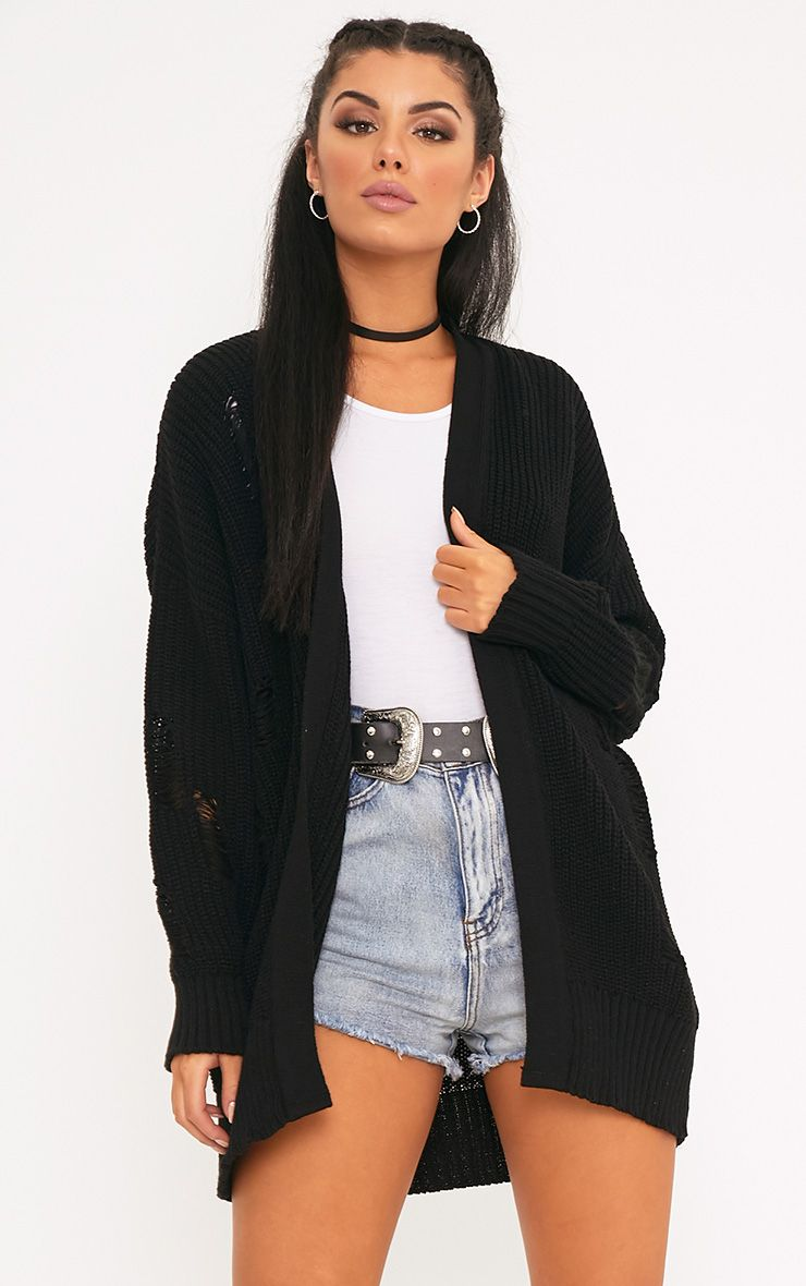 Jose Black Distressed Fisherman Knit Cardigan