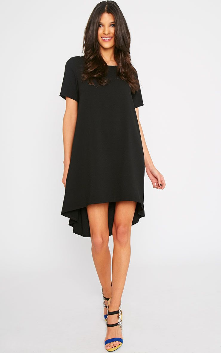 Naina Black Crepe Step Hem Loose Fit Shift Dress 1