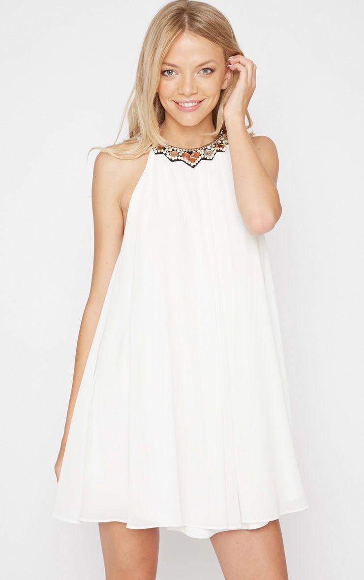 Anushka White Embellished Neck Dress 1