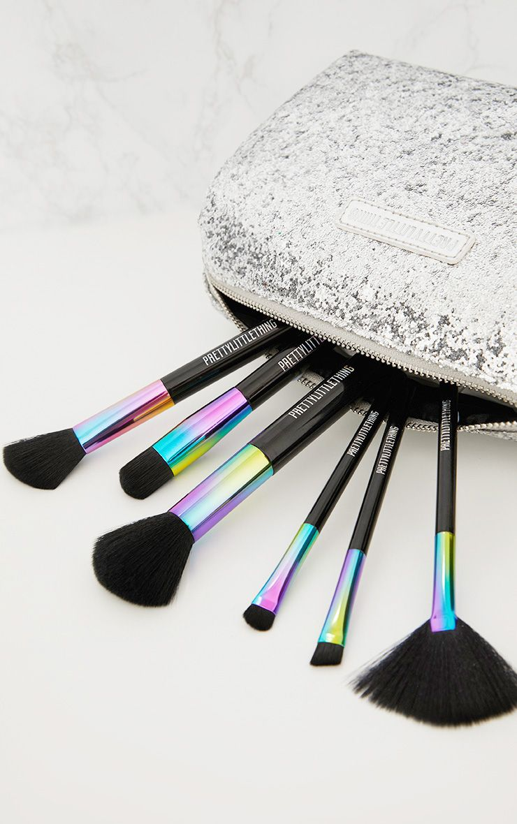 PrettyLittleThing Silver Glitter Make Up Bag