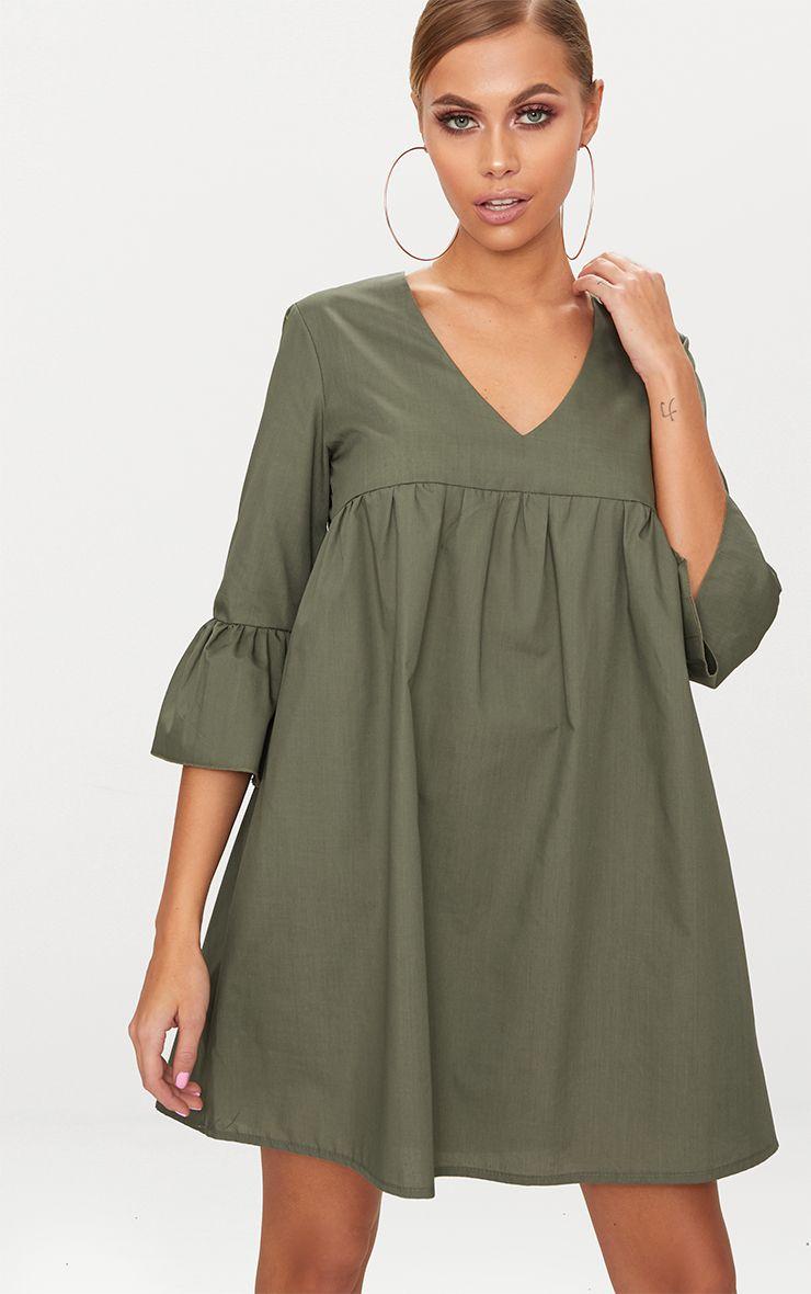 Khaki 3/4 Sleeve Smock Dress