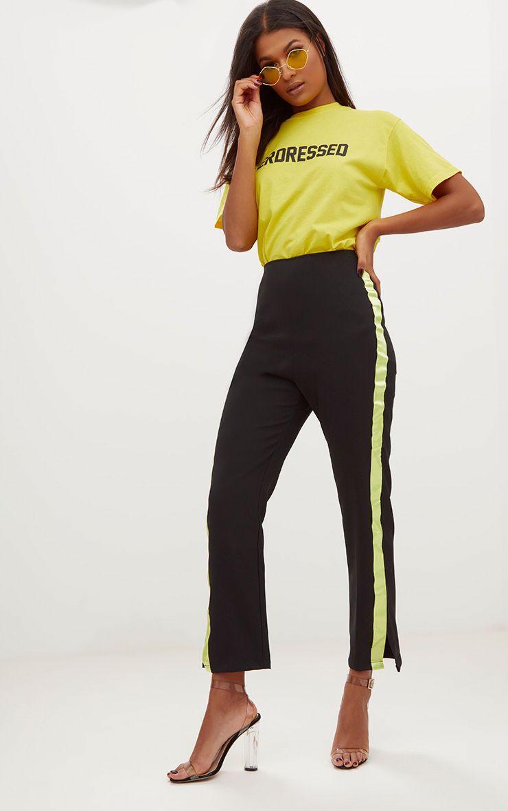Black Satin Stripe Formal Trousers