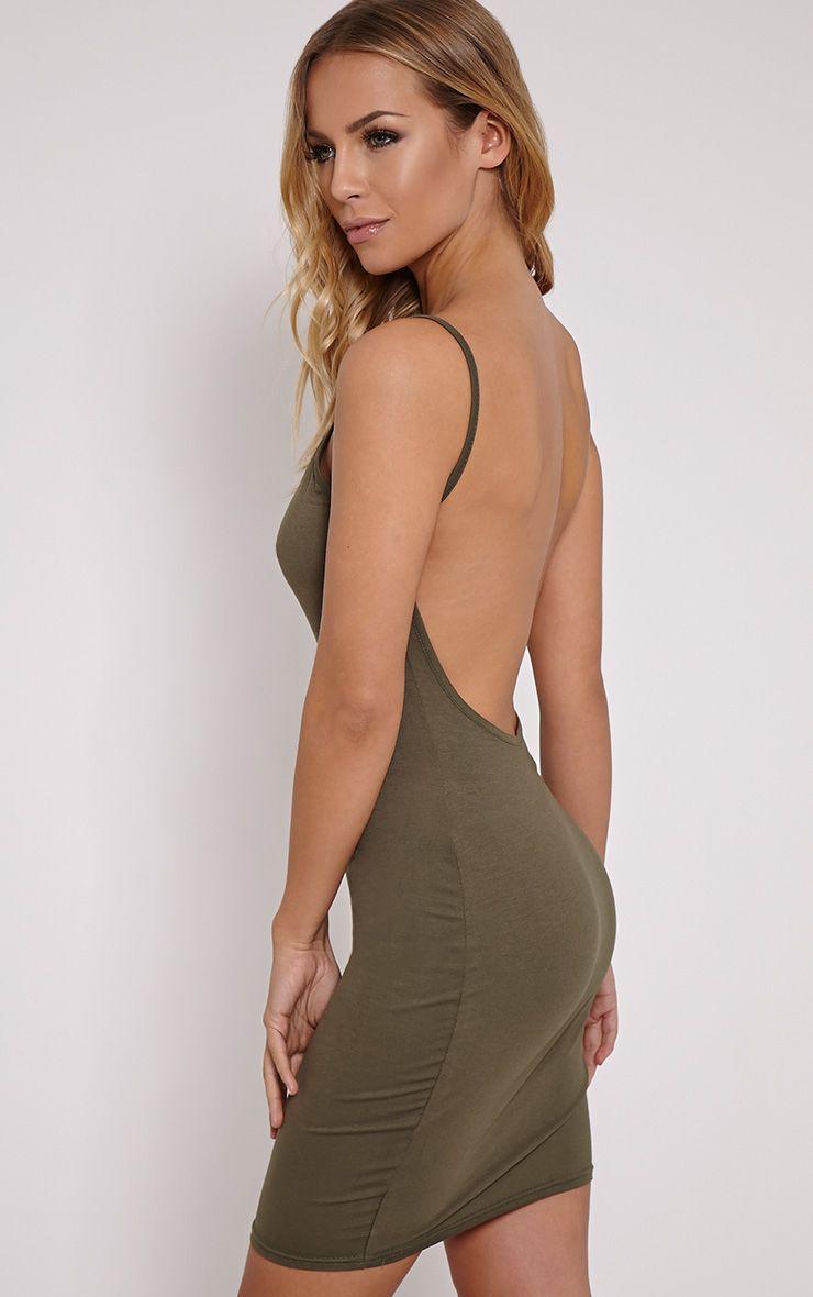 Natallia Khaki Scoop Back Dress 1