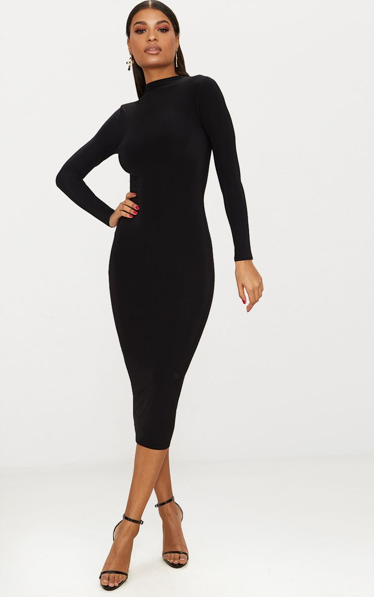 Black Second Skin Double Layered Slinky High Neck Midaxi Dress
