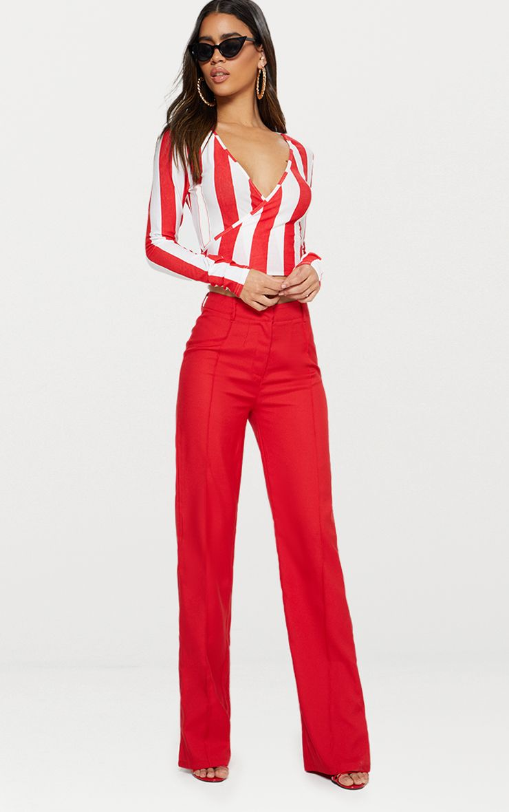Red Bold Stripe Tie Waist Crop Top  1
