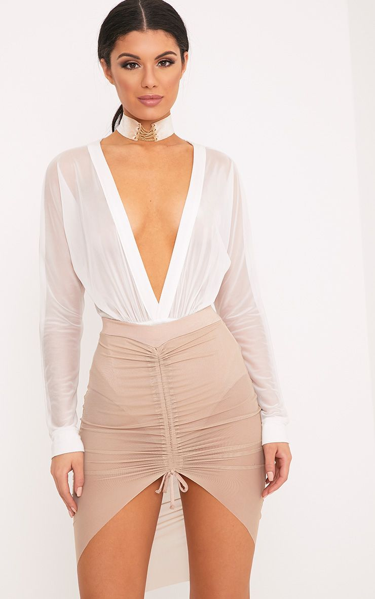 Charla Nude Ruched Mesh Mini Skirt