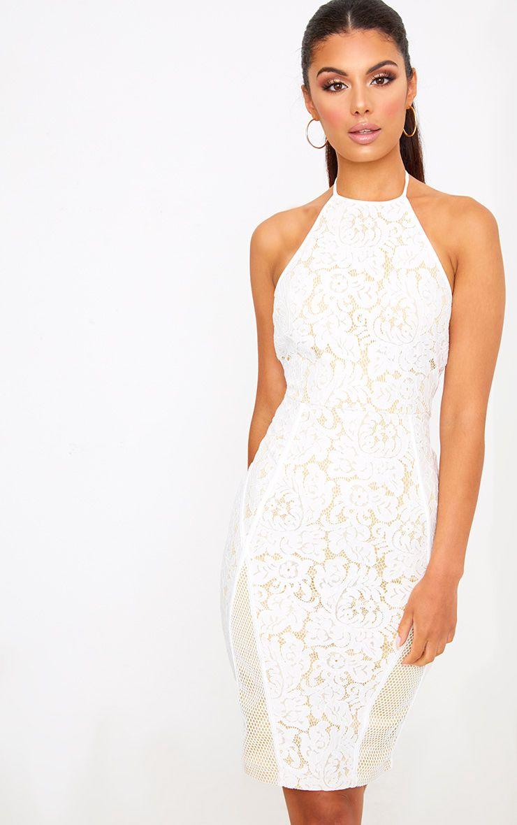 White Lace Fishnet Panel Halterneck Midi Dress