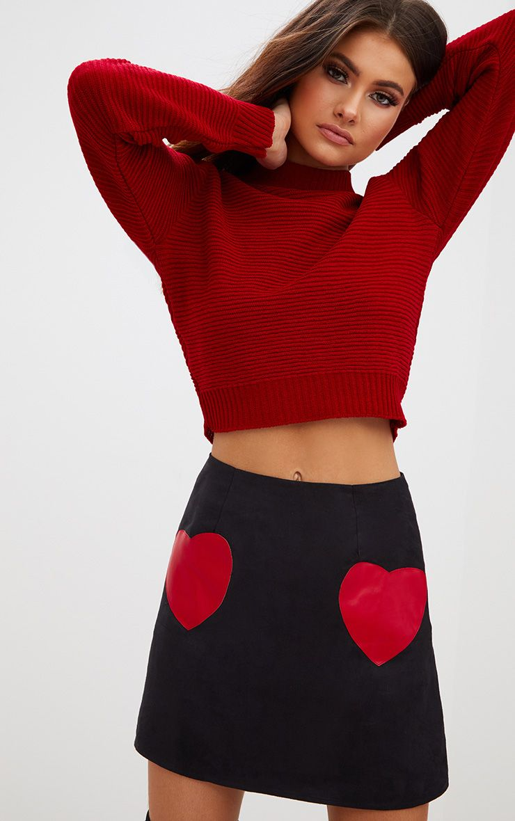 Black Suede Heart Patch A Line Mini Skirt