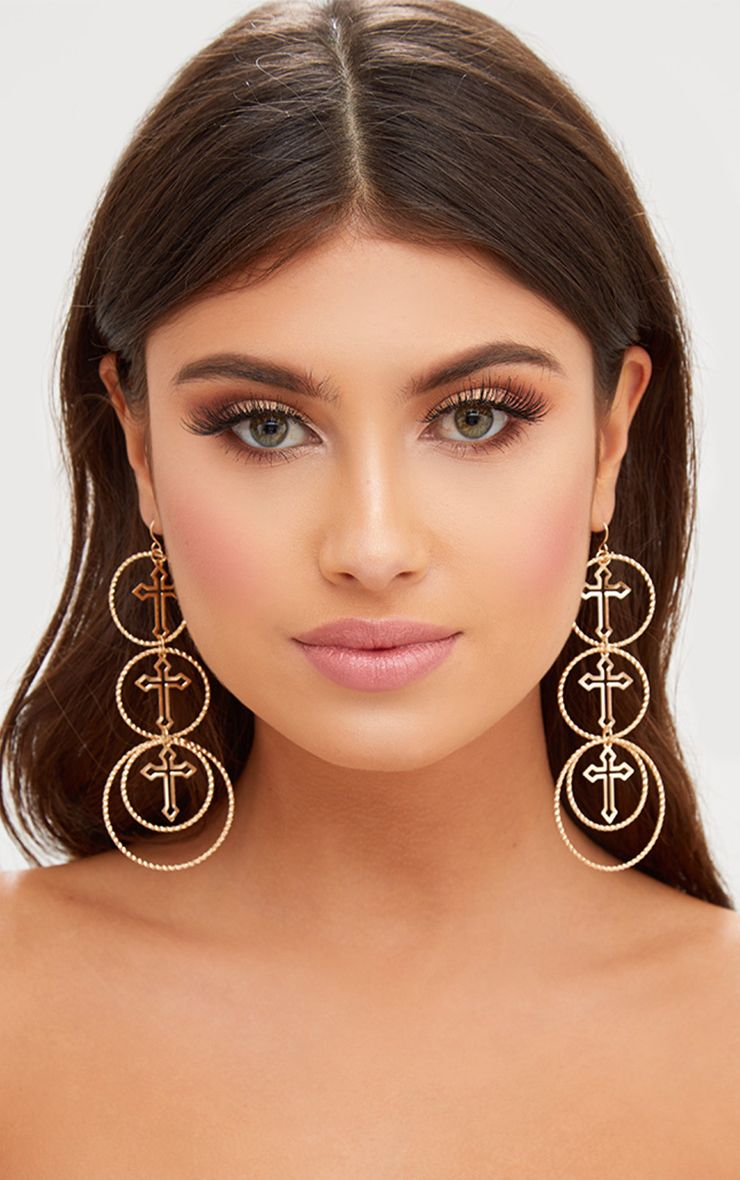 Gold Cross Layered Ring Earrings