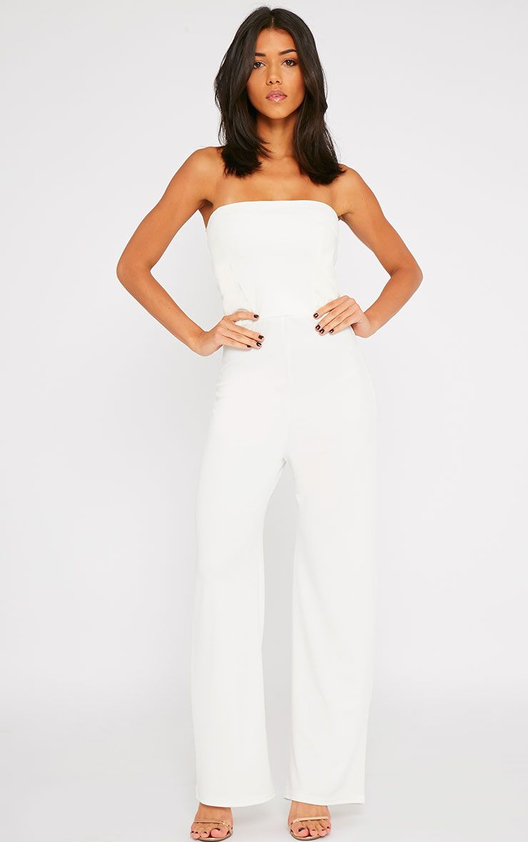 Cilla Cream Bandeau Leather Panel Wide Leg Jumpsuit 1