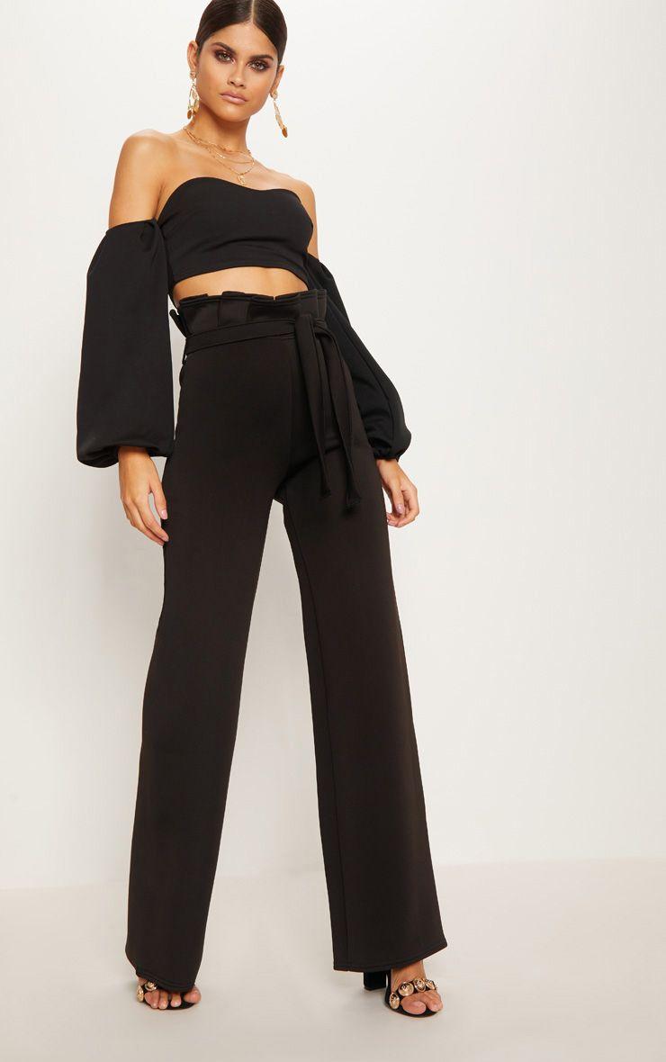 Black Scuba Extreme Paperbag Wide Leg Trouser