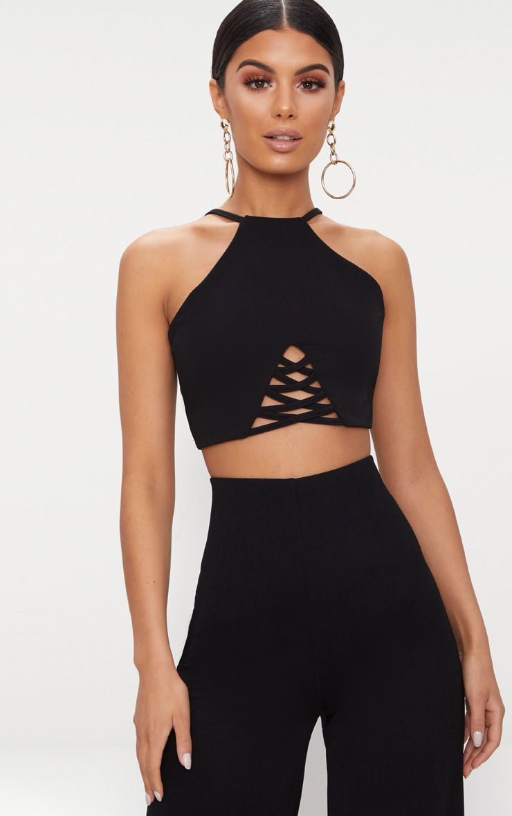 Black Crepe Lace Up Detail High Neck Crop Top