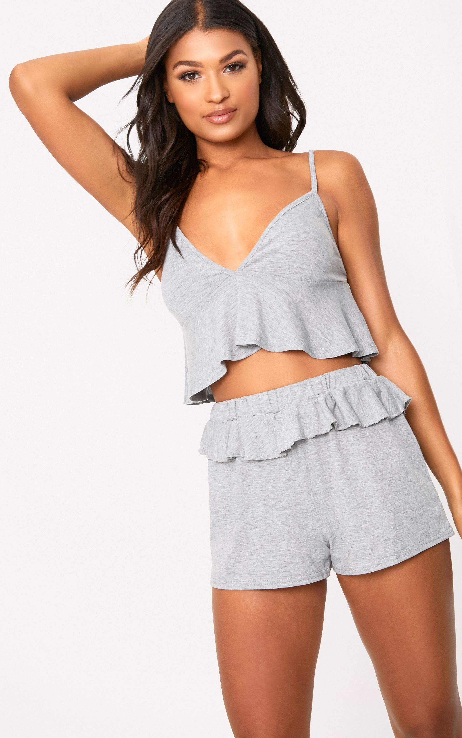 Grey Marl Frill Detail Nightwear Set