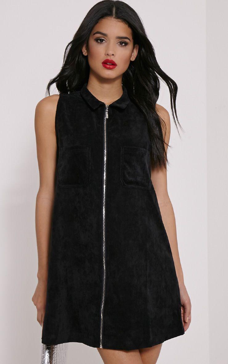 Jeenie Black Cord Zip Front A-Line Mini Dress 1