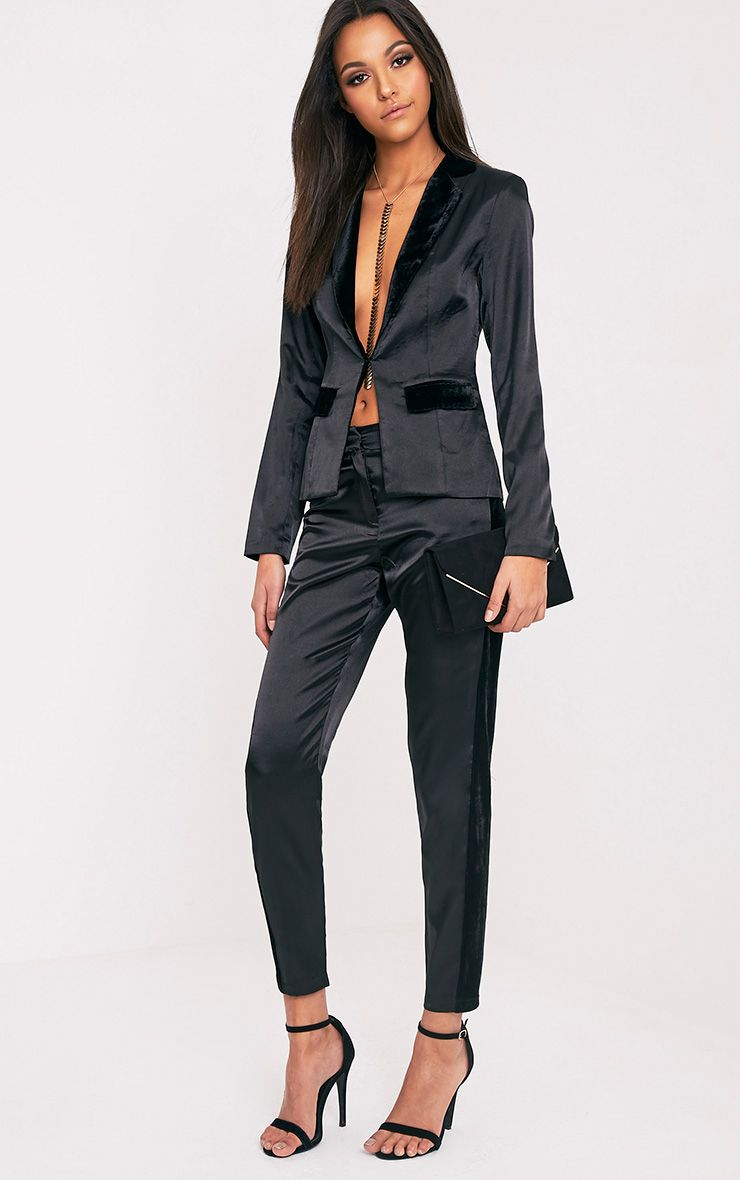 Alaynie Black Velvet Stripe Satin Trousers
