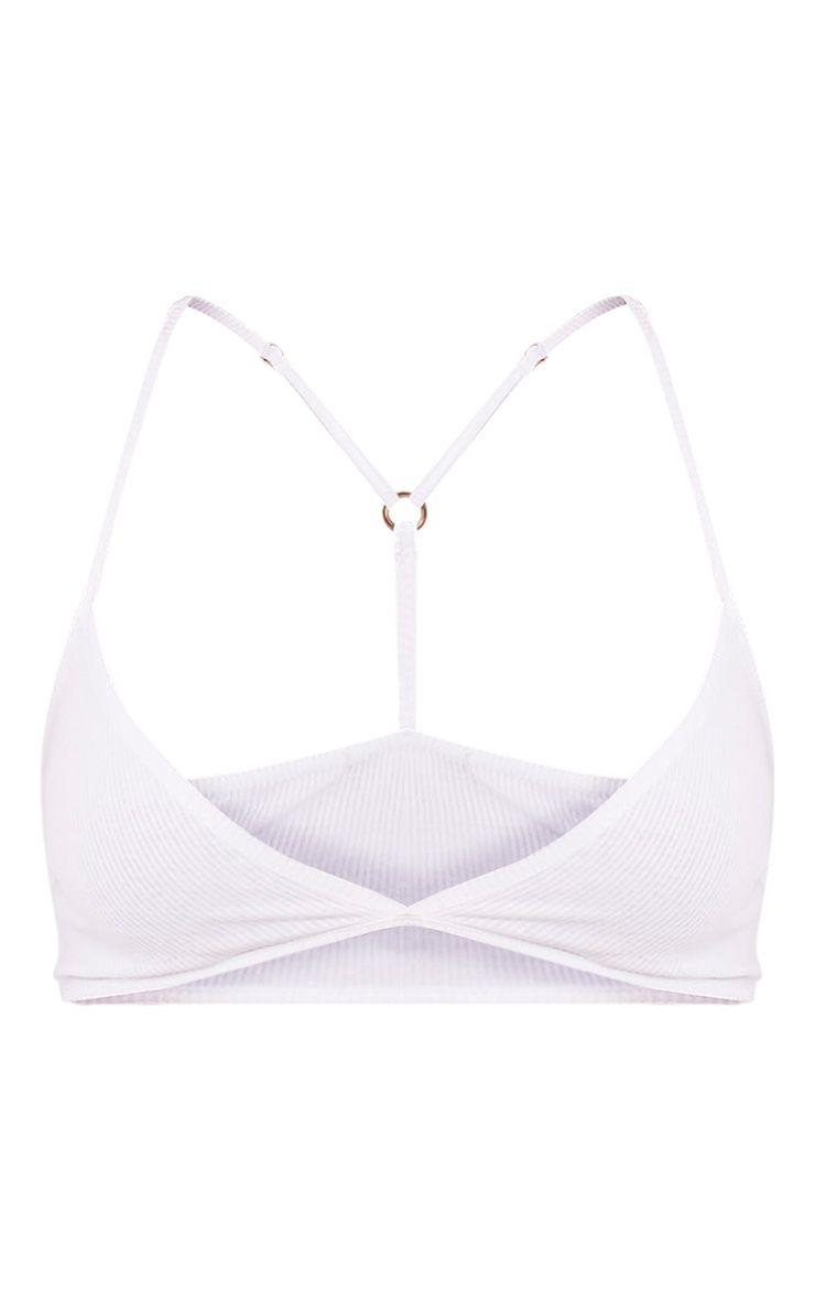 Basic brassière blanche en jersey à bretelles dorsales croisées 3