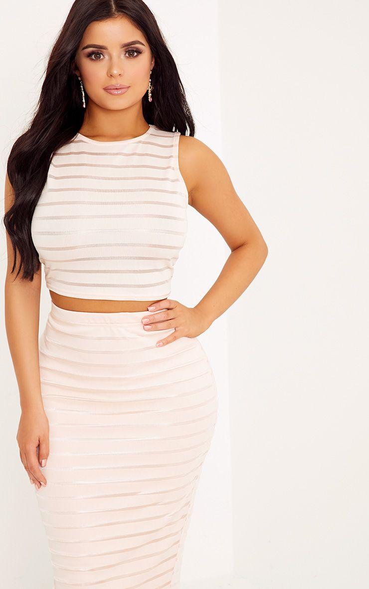 Shape Zariah Nude Burnout Stripe Crop Top Co-Ord