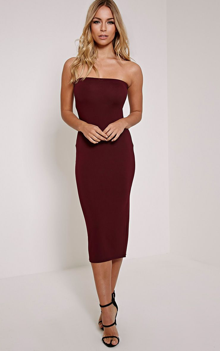 Basic Plum Jersey Bandeau Midi Dress
