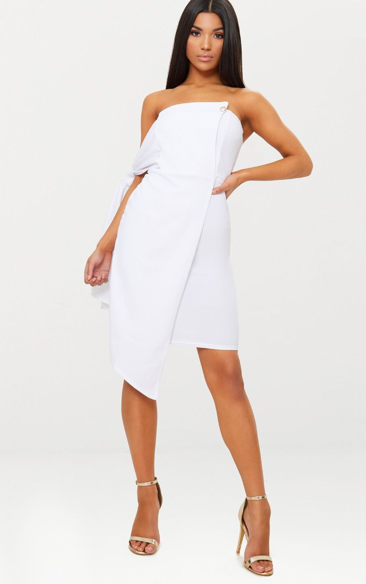 White Tie Detail Wrap Front Bandeau Midi Dress