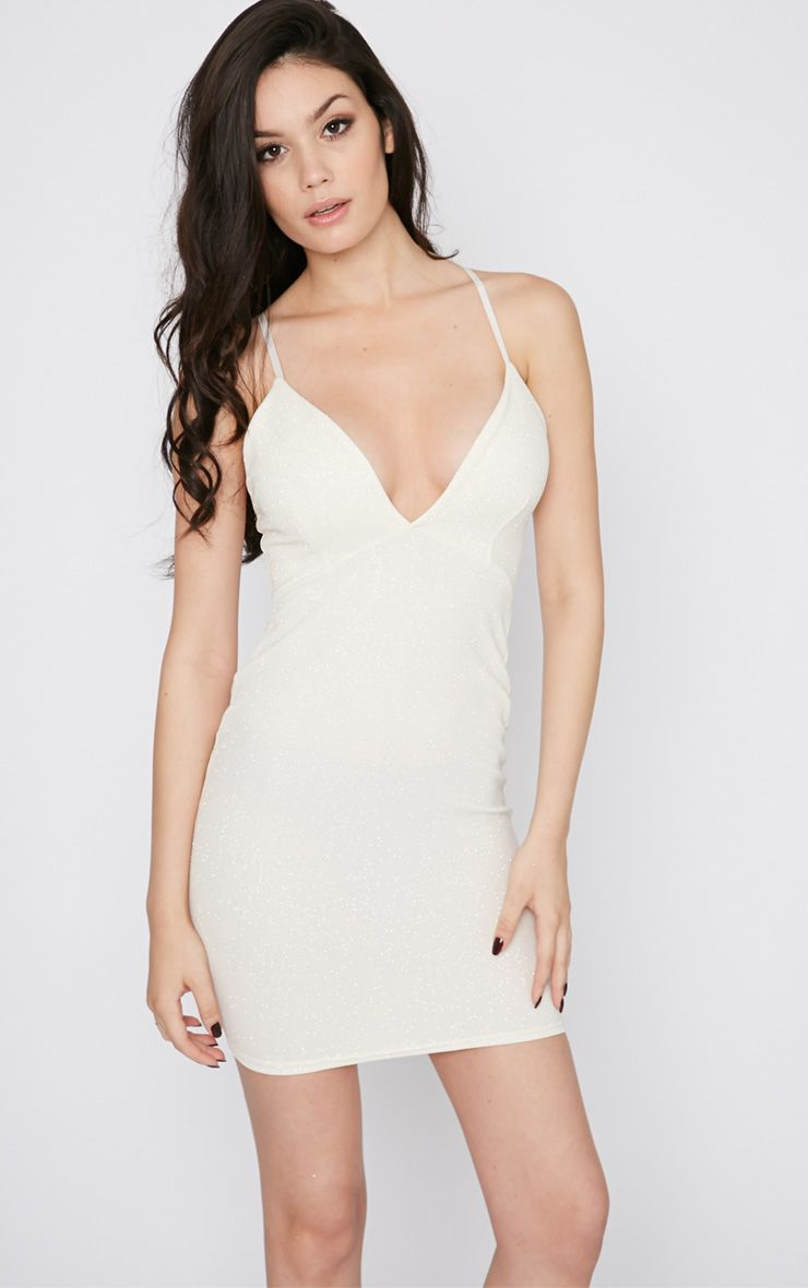 Dakotah Cream Glitter Plunge Mini Dress 1