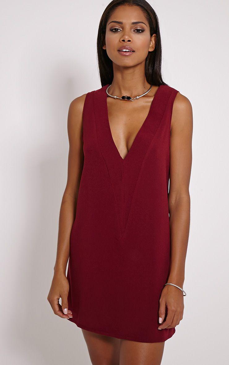 Haelyn Wine Plunge V Shape Loose Fit Binding Dress 1