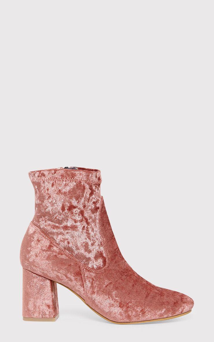Hayden Bronze Crushed Velvet Ankle Boots 1