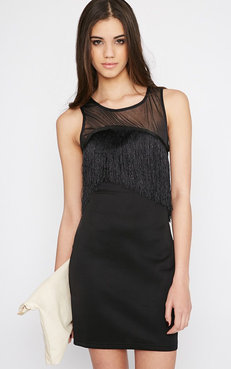 Mireya Black Tassel Mini Dress 1