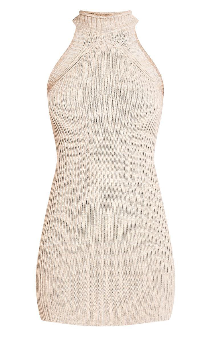 Nadalae robe mini sans manches col montant tricotée gris pierre 3