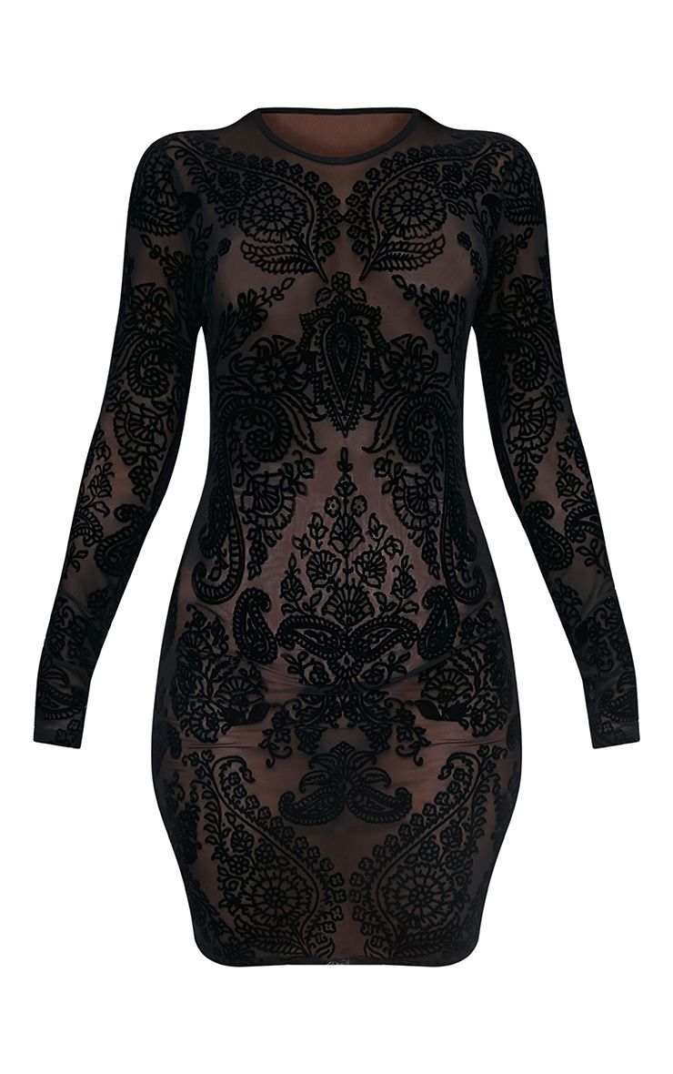 Kellina Black Sheer Flock Detail Mesh Bodycon Dress