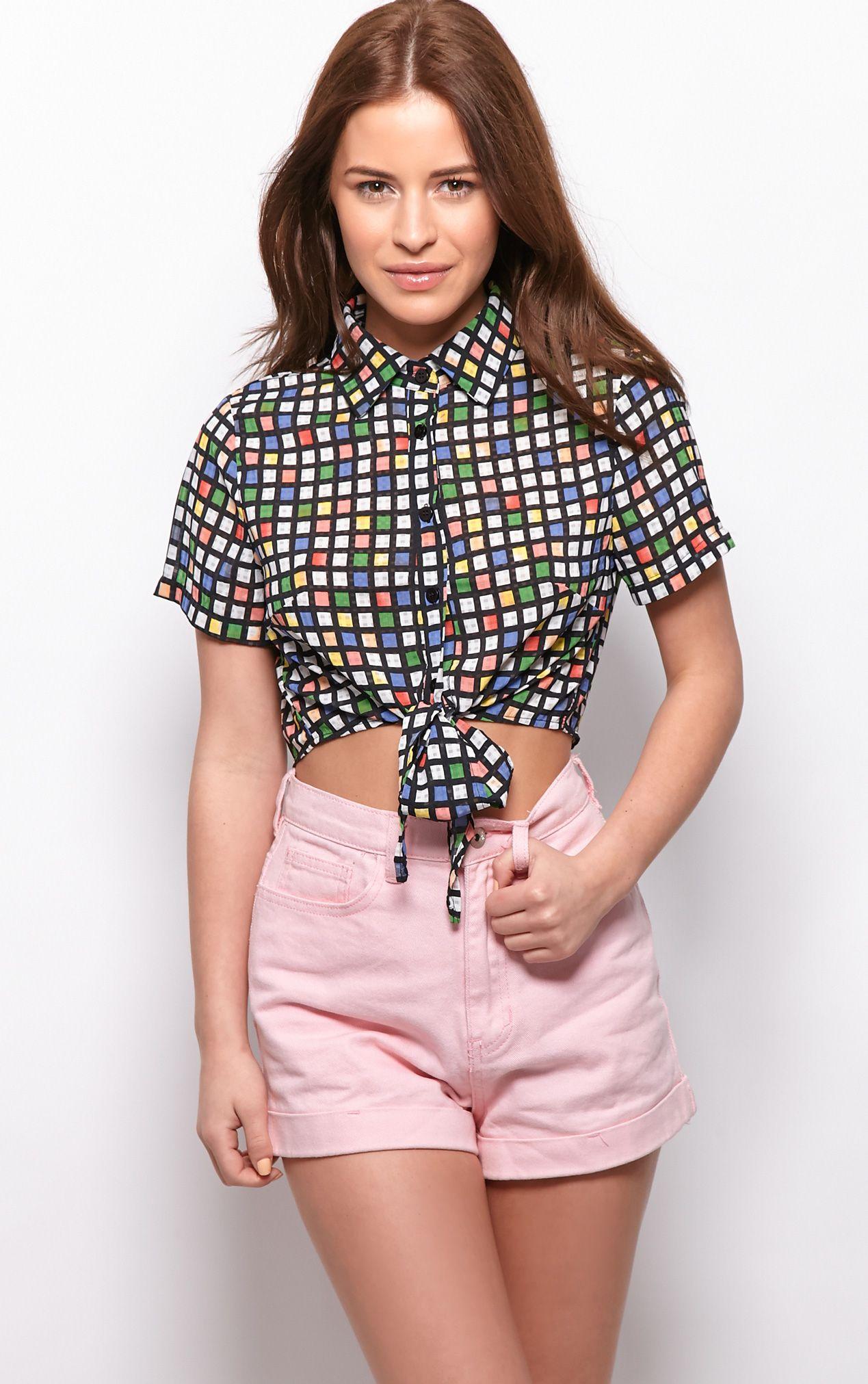Kimberly Multi Check Crop Shirt 1