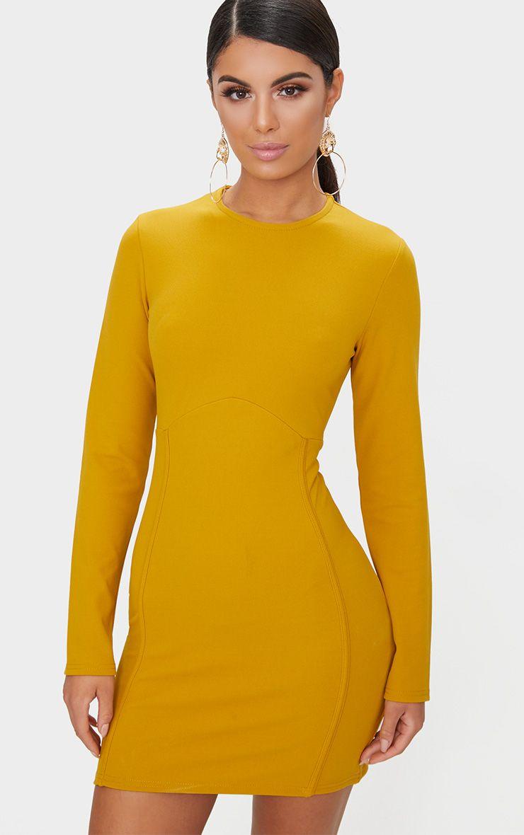 Mustard Long Sleeve Panelled Bodycon Dress