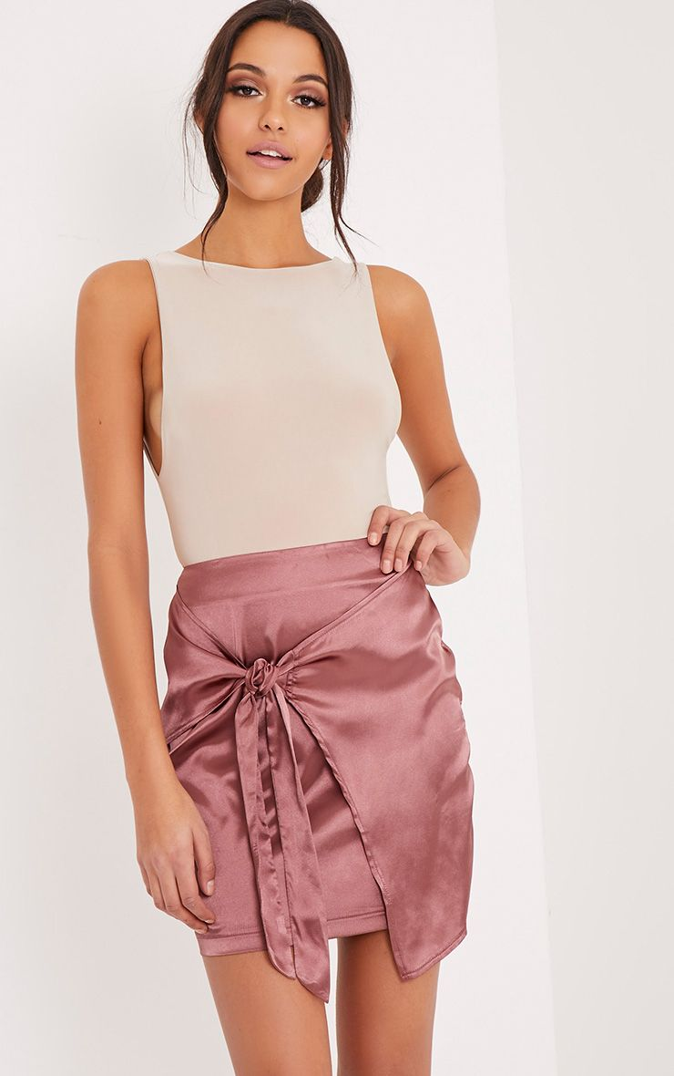 Hattie Tobacco Satin Knot Tie Wrap Mini Skirt 1