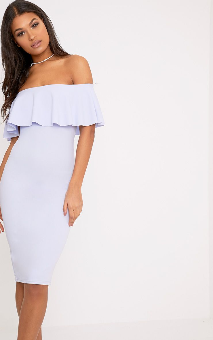 Celinea Dusty Blue Bardot Frill Midi Dress
