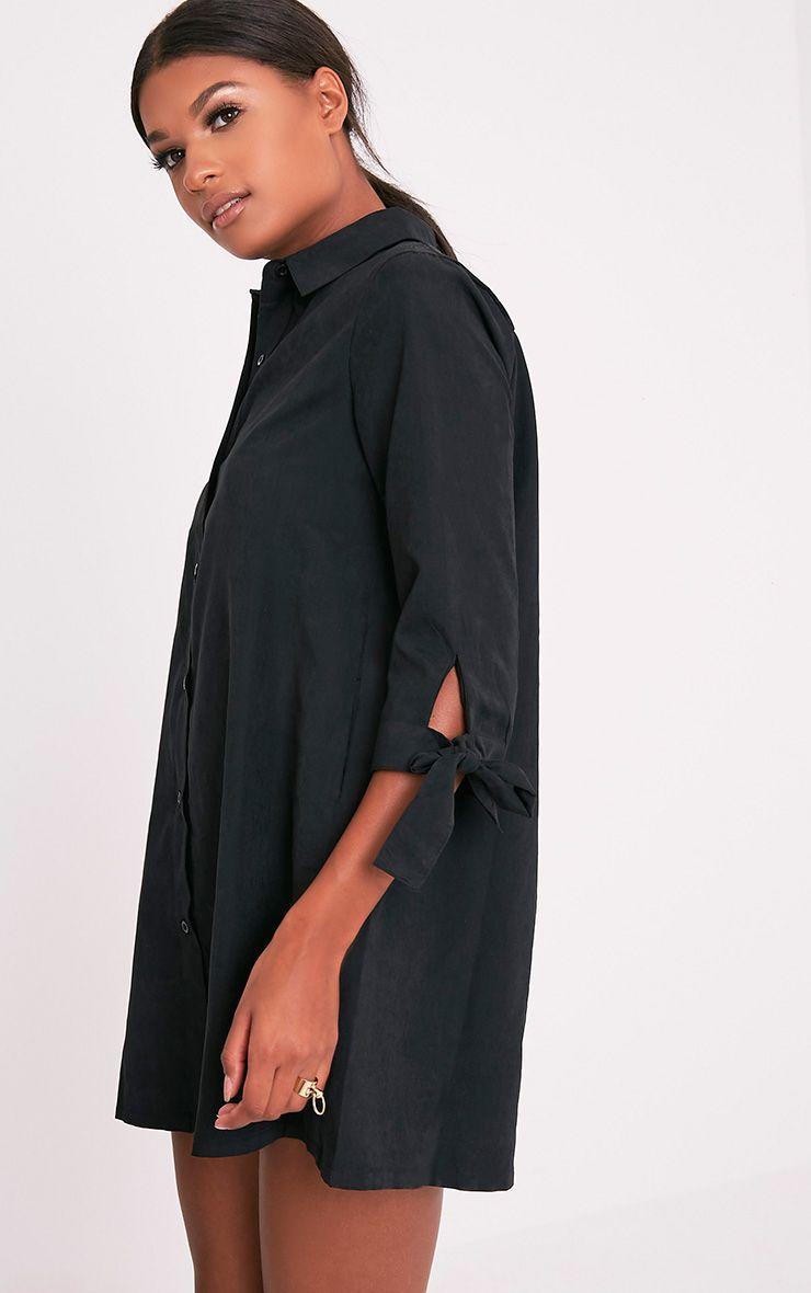 Maysia robe chemise détail manchettes noire 4