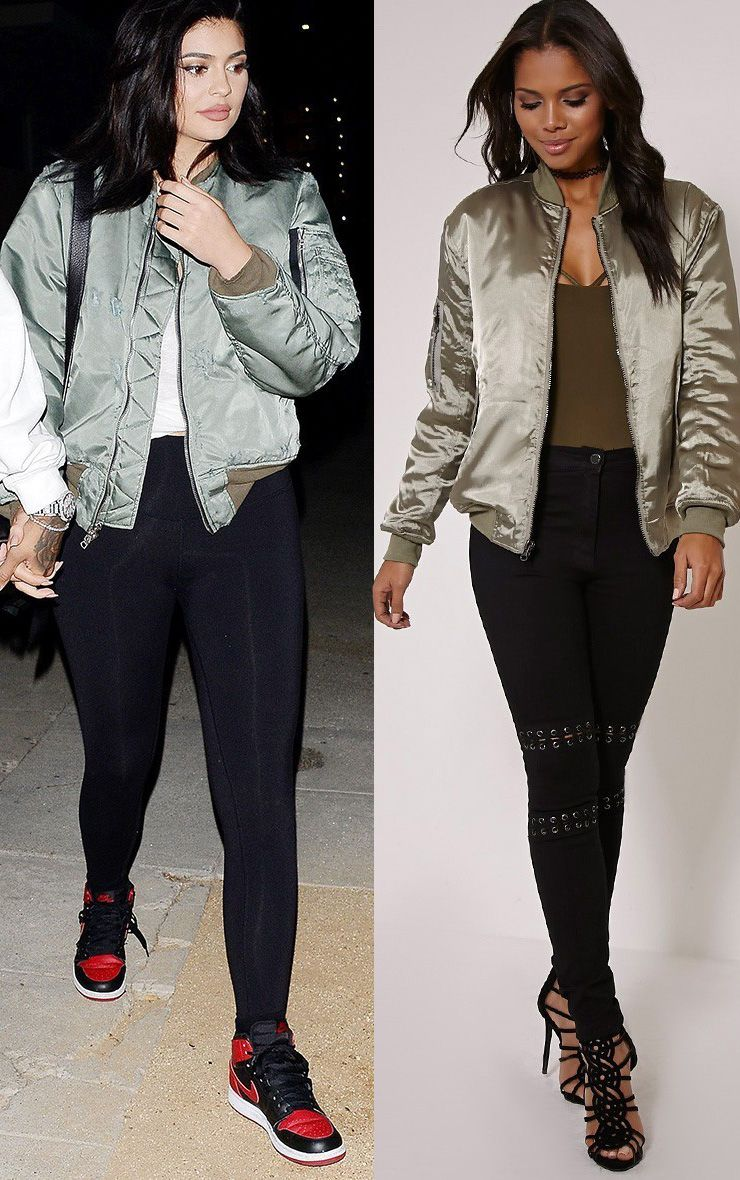Cruz Khaki Satin Oversized Bomber Jacket