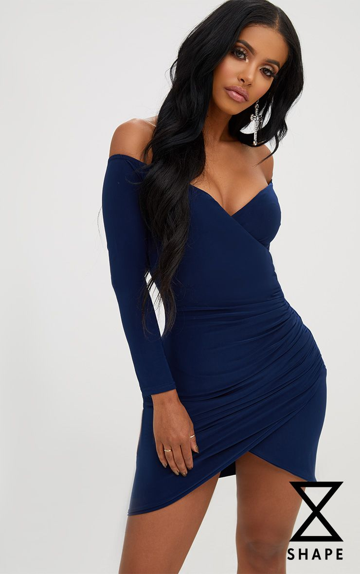 Shape Navy Ruched Bardot Bodycon Dress 1
