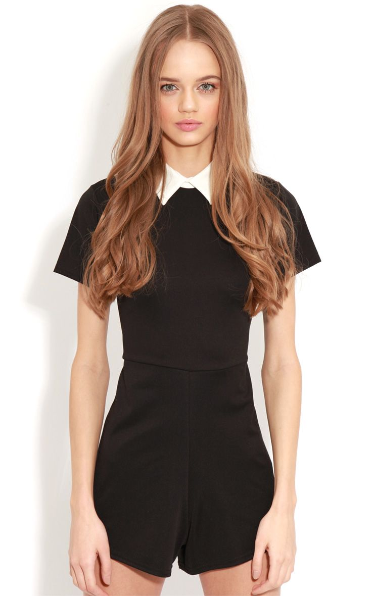 Dylon Black Playsuit With White Collar 1