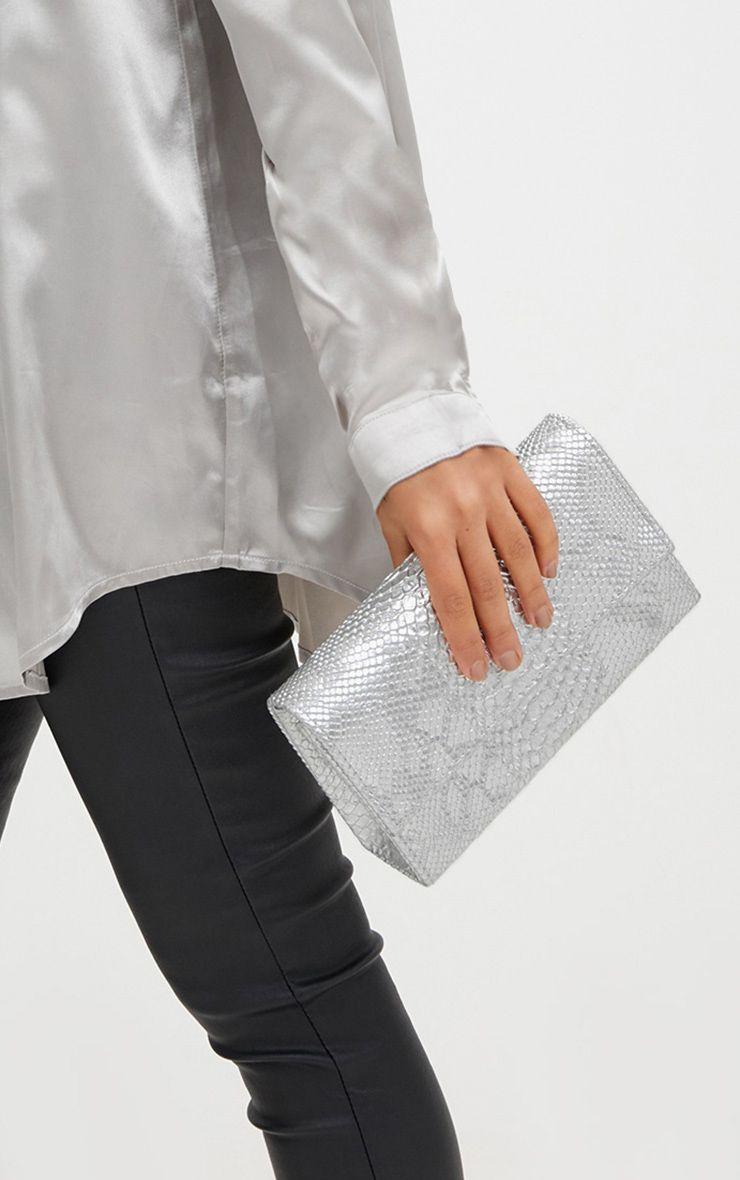 Silver Croc Shoulder Bag