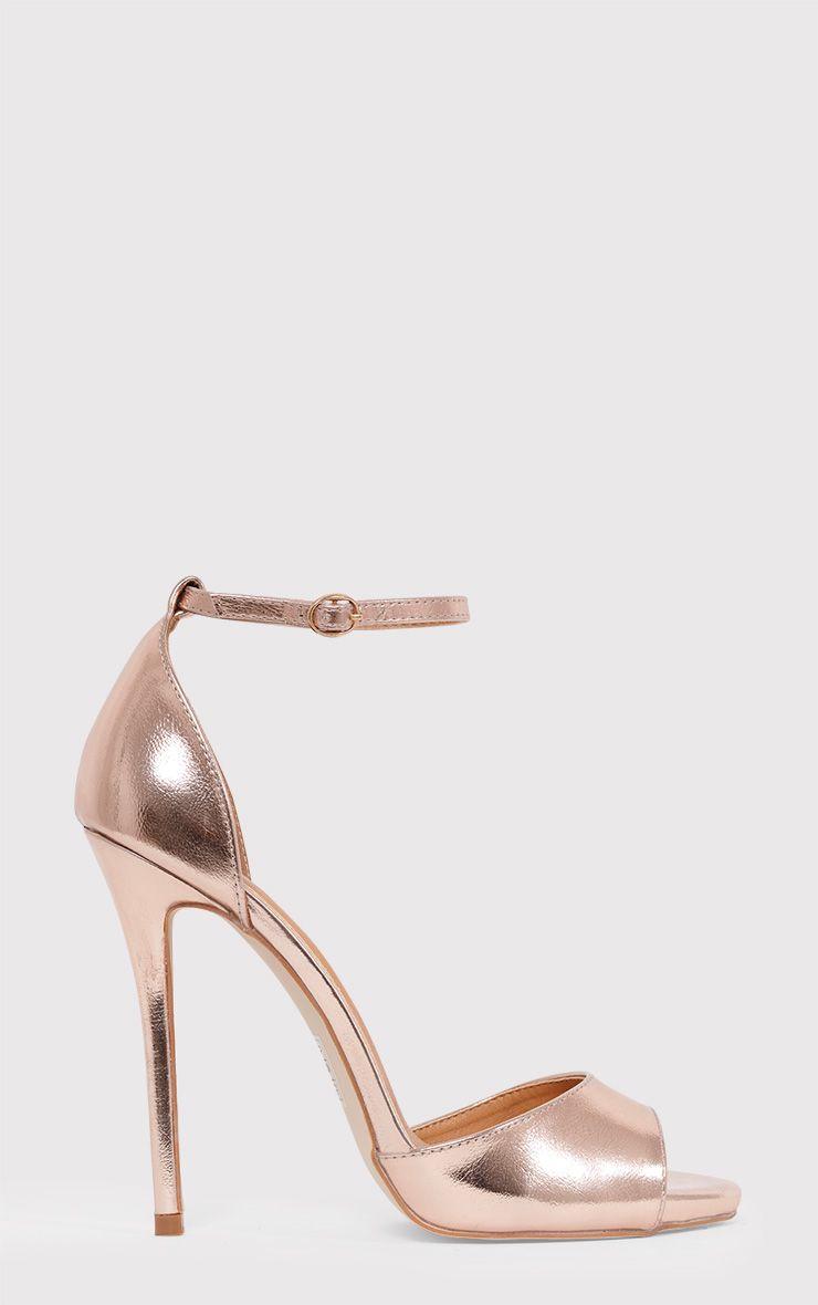 Vanyah Rose Gold PU Ankle Strap Stiletto Heels