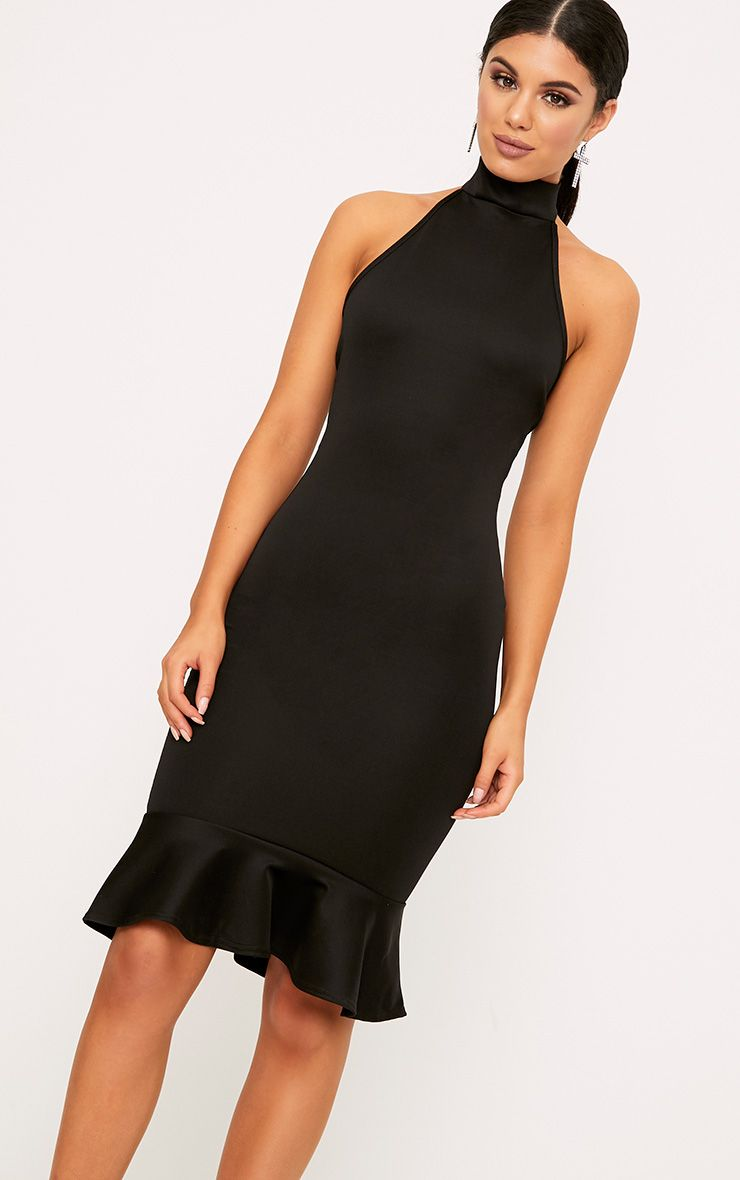 Black High Neck Frill Hem Midi Dress