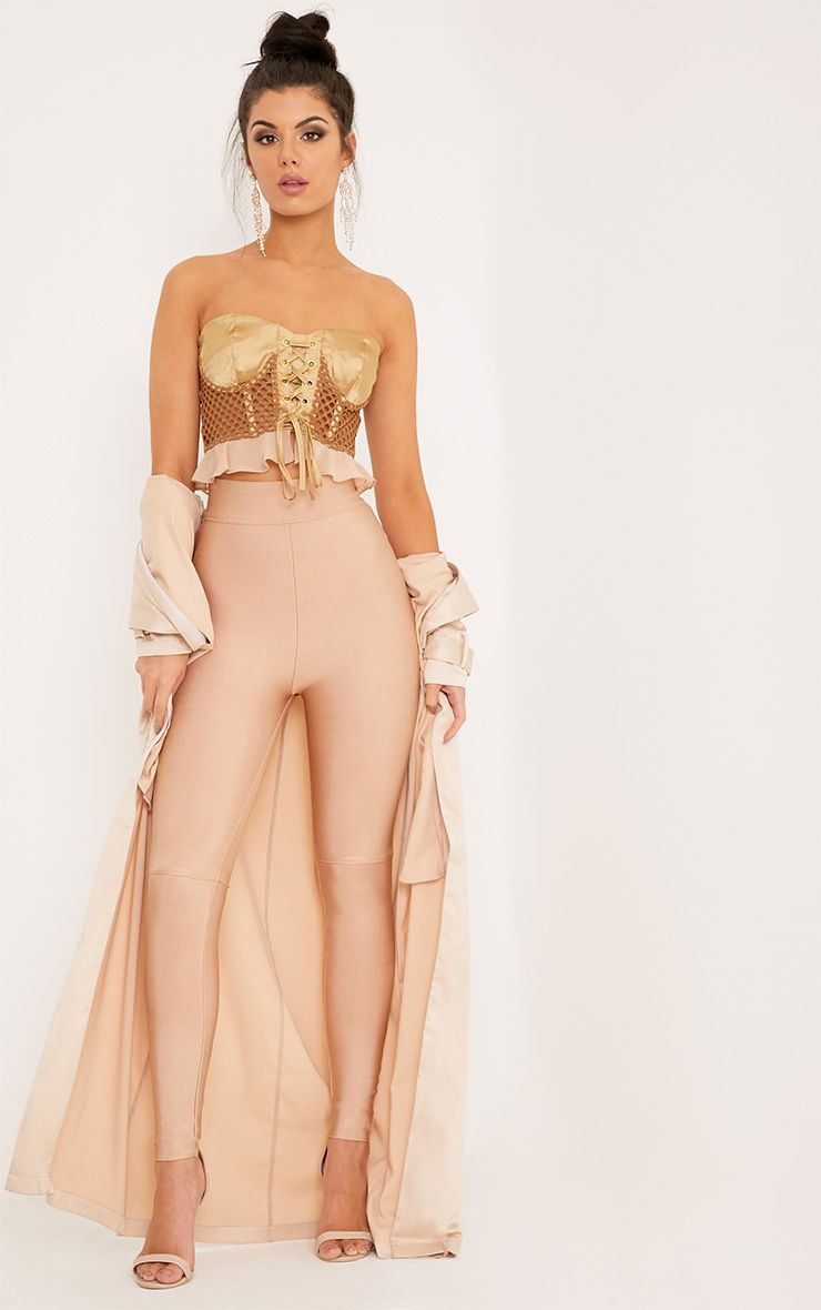 Raziela Camel Bandage High Waisted Trousers