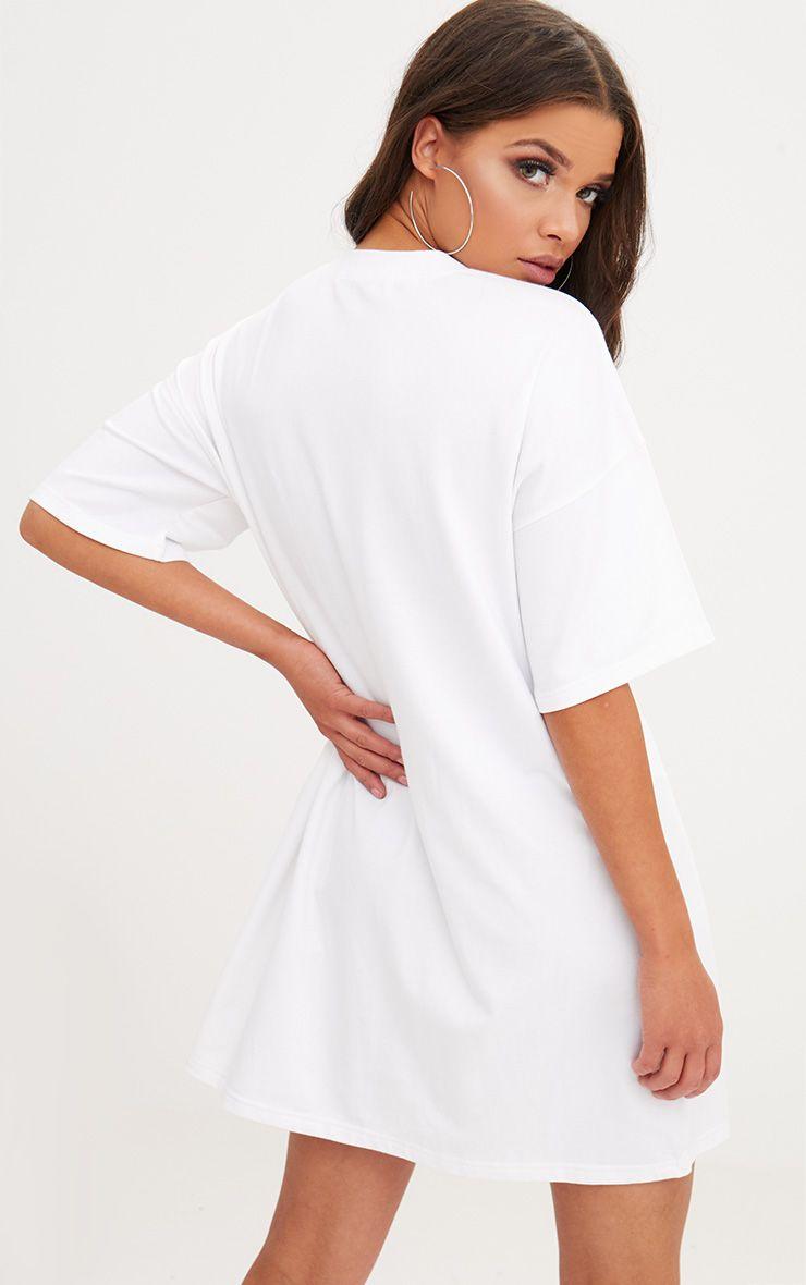 White diamante bra t shirt dress dresses prettylittlething for White bra white shirt
