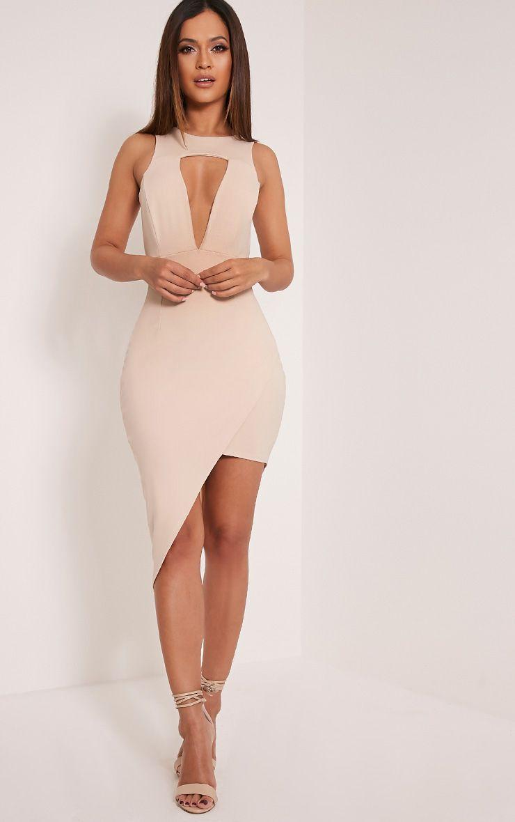Eron Taupe Cut Out Plunge Asymmetric Mini Dress