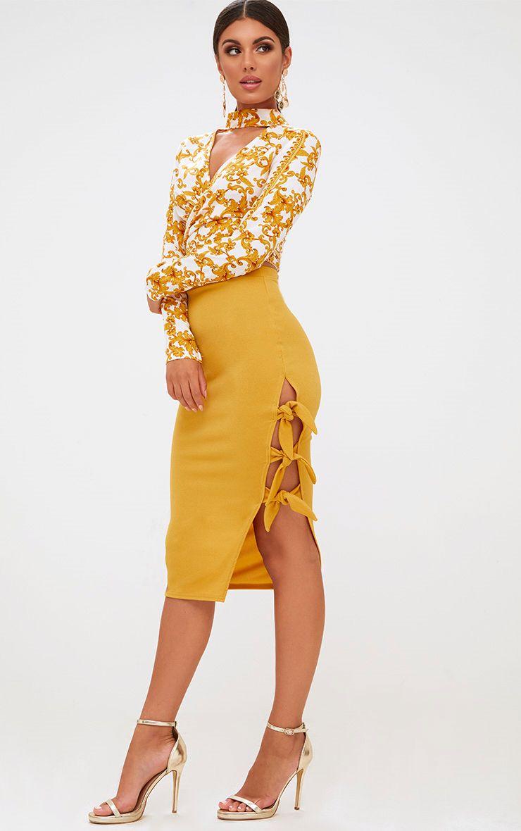 Mustard Tie Split Midi Skirt